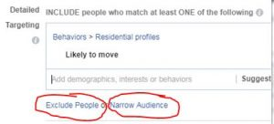 Facebook - Exclude or Narrow Audience